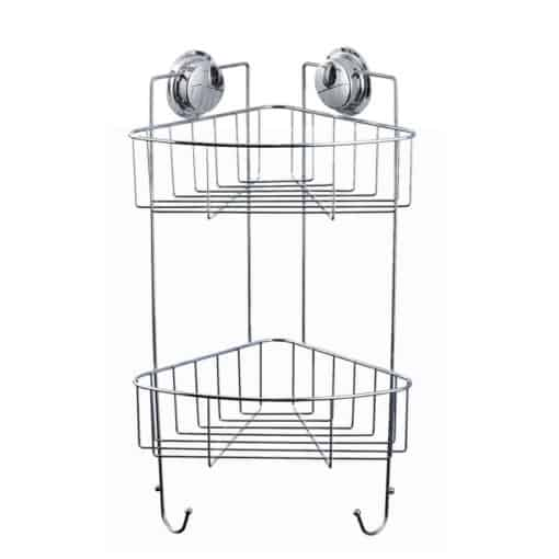 Suction Chrome Wire Corner Double Basket