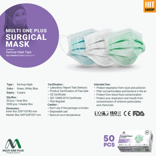 Masker Surgical Multi One Plus 4 Ply Hijab Type