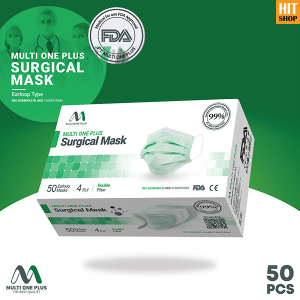 Masker Surgical Multi One Plus 4 Ply Earloop Type Isi 50 Pcs
