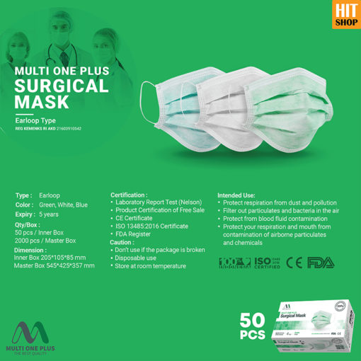 Masker Surgical Multi One Plus 4 Ply Earloop Type Isi 50 Pcs (1)